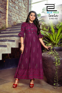 Blue Hills Leela Vol 2 Rayon Printed Kurtis Manufacturer from Surat
